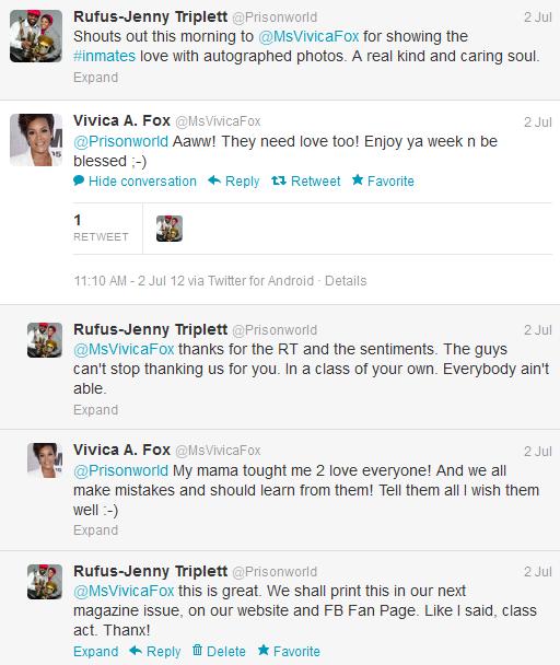 Vivica Fox Shouts Out To Inmates via Prisonworld Tweets